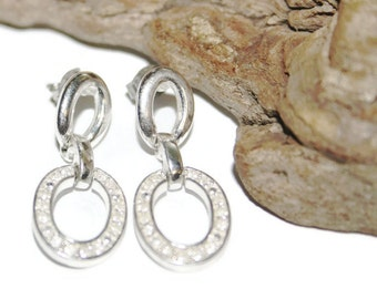 Vintage Avon Earrings for Pierced Ears, Silver Plated Earrings with Rhinestones, Silver Avon, Avon Jewelry, Vintage Jewelry, Vintage Avon