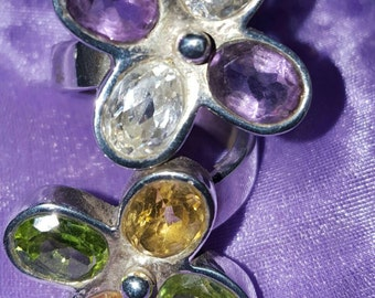 Stunning Amethyst, clear quartz, peridot and citrine sterling silver ring...