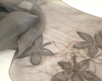 beautiful embroidered silk scarf in grey