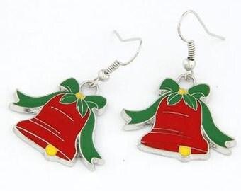 Handmade Christmas Jingle Bell Earrings/XMAS Hook Earrings