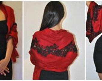 Weddings/Engagements/Bridal/Special Occasions Silk cashmere wrap/scarf/shawl with stunning black lace