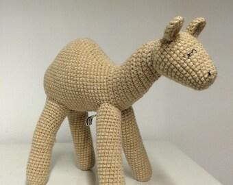 Hand made crochet beige dromedary camel.