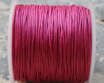 Pink Waxed Cotton Cord (1mm) 100 yards S 40 034