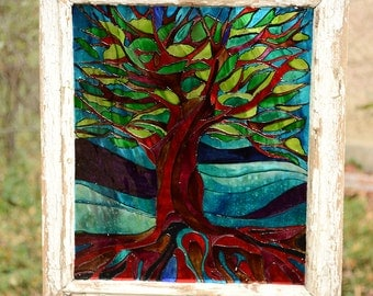 Tree of life wall art, Glass painting,  Vintage frame, Hand painted glass, Glass art, Glass wall art, Glass paint, Reclaimed wood frame
