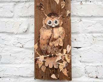 Owl decor, Owl wall art, Owl wall decor, Bark art, Bark decor, Reclaimed wood  wall art, Wood wall art,