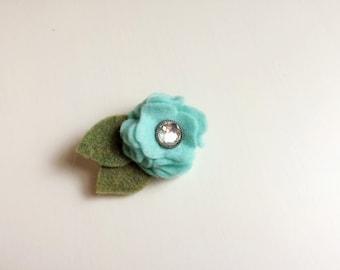 Mini icy blue ruffle felt rose blossom flower with rhinestone embellishment - alligator clip - headband