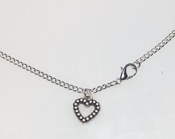Vintage Silver Bead Heart Pendant Necklace