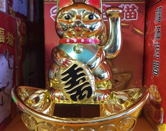 Lucky Waving Maneki Neko Fortune Cat Solar Sit on Money