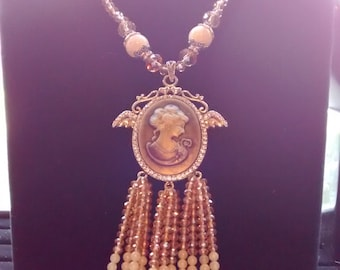 Taupe Cameo With Jeweled Chain