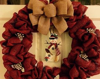 Snowman & Red Burlap Christmas Wreath