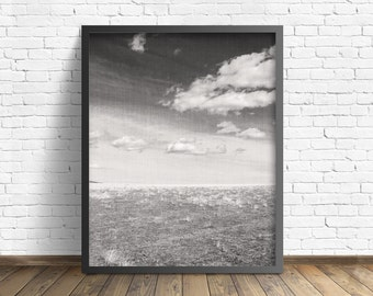 """nature photography, large art, printable art, instant download printable art, black and white, clouds, rustic decor, wall art - """"Grasslands"""""""