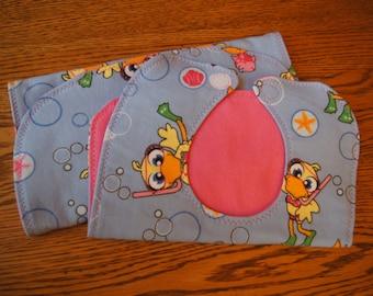 Bib and Burpcloth Set -- Scuba Ducks/Pink