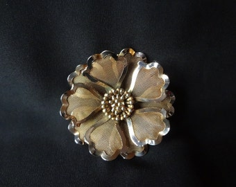 Brooch Vintage by BED Mesh Flower Brooch Pin from the 60's