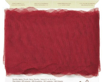 NEW Stampin Up Scalloped Tulle Ribbon 3 1/2″ – CHERRY COBBLER  – Approx 10 Yards