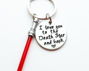"""I Love You to the Death Star and Back Hand Stamped 1"""" Aluminum Keychain, Star Wars Keychain Force Lightsaber Keychain Husband valentine's"""
