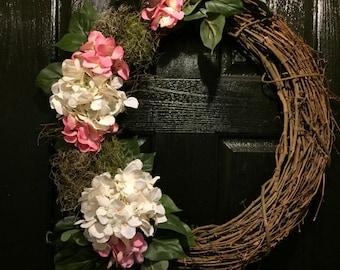 Year Round Wreath, Year Round Door Wreath, Grapevine Wreath, Hydrangea Wreath, All Season Wreath, Housewarming Gift, Floral Wreath