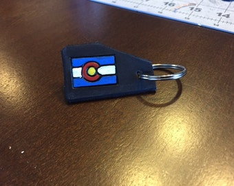 Colorado Keychains, genuine leather colorado stamped keychain with metal ring