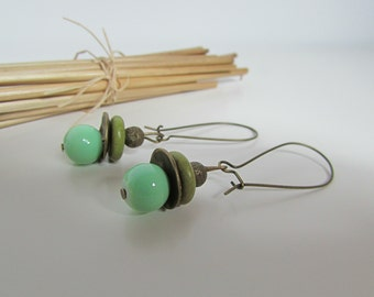 Earrings green and bronze - 77