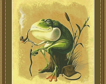 Old Man Frog, Cross Stitch Pattern in PDF for Instant Download