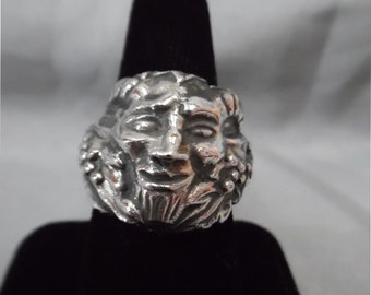 Sterling Silver Sz 7 Satyr w/ Grapes Ring