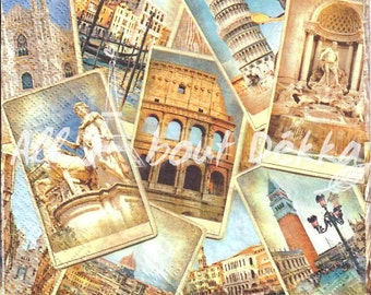 Travel Decoupage Napkins Set of 4  - Italy, Venice, Paris, Collage of 4 Designs of Paper Napkin, Serviettes, Mixed Media, Craft Supplies