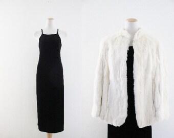 Vintage Midi Black Velvet Dress