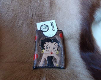 Business card holder - leather wallet of Betty Boop
