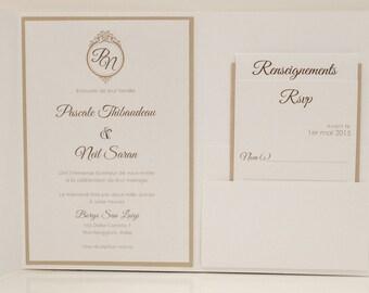 Gold and White Wedding Invitation, White Invitation, gold Wedding invitation, White and gold Wedding Invitations, Elegant wedding Invitation