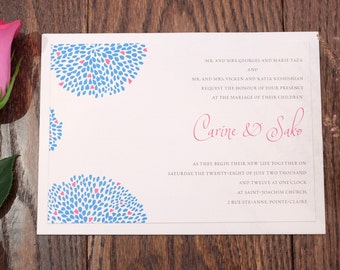 Blue Invitation, Flower Wedding Invitation, Flower Invitation, Flower Invitations, Floral Invitation, Heart invitation, heart invitations
