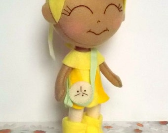 Fruit Girl - Chiquita Banana - Felt Chibi Handmade Doll