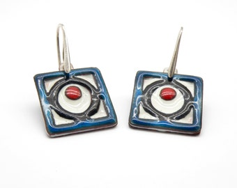 Waft Of Jewish Tradition - Enamel Earrings