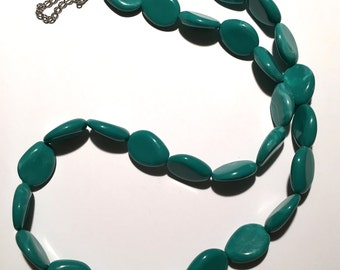 Turquoise Necklace; Turquoise Colour, Handmade, Beaded Necklace