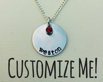 Single Disc Necklace with Birthstone