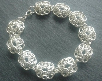 Vintage Styled, Sterling Silver Chainmaille Bracelet