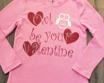 Owl be your valentine longsleeve girls shirt~