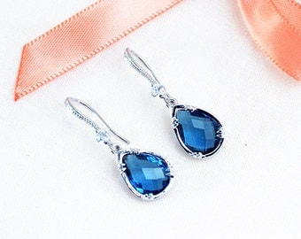 Bride-bridesmaid-Gepsy earrings - earrings-Crystal - jewelry wedding - something blue wedding jewelry wedding Blue Blue
