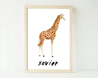 Custom watercolour giraffe personalised artwork print up to extra large A1