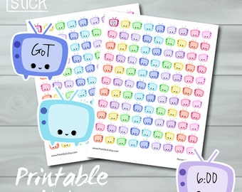 Kawaii TV Planner Stickers PRINTABLE - Keep track of your favorite shows! - Perfect for Erin Condren or any other planner or notebook !