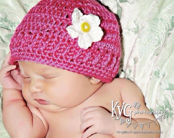 Hot pink Daisy Crochet hat -  Choose any Size