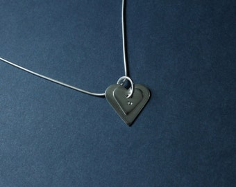Sterling Silver Two Heart Pendant on 1mm Sterling Silver Snake Chain