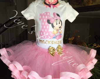 Pink and Gold Minnie Mouse Tutu Outfit | Pink and gold Minnie First Birthday | Minnie Mouse Birthday Outfit | Ribbon Tutu Outfit | Baby Minn
