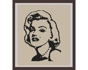Marilyn Monroe Counted Cross Stitch Pattern. PDF Instant Download. Begginers Pattern.