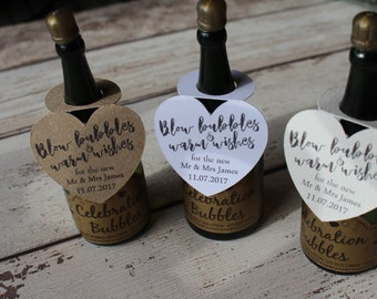Personalised Wedding Favour Tags for wedding bubbles CHAMPAGNE BOTTLE SHAPE