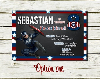 Personalised Birthday Invitations (Captain America inspired) (DIGITAL FILE ONLY)
