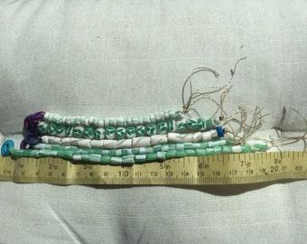 Jade and white handmade polymer bead set