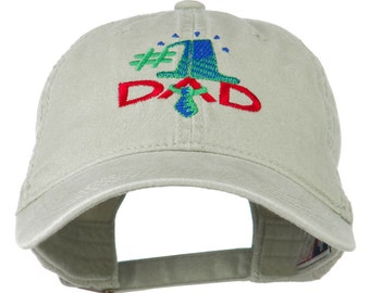 Number 1 Dad Embroidered Washed Cap
