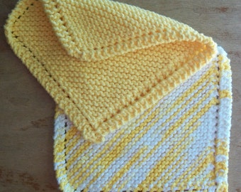100% Cotton Knitted Handmade Dishcloths - Butter Cream Ombre and Bright Yellow