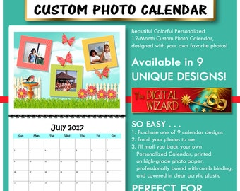 """2017 Personalized 12-Month Custom Photo Calendar with Your Own Photos, Comb Binding, Clear Front & Back Covers, """"BUTTERFLY GARDEN"""" Series"""
