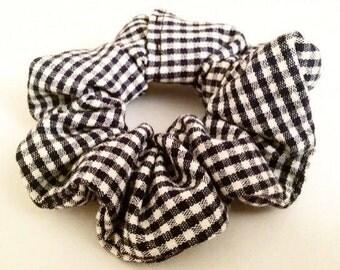 Black and White Gingham Scrunchie