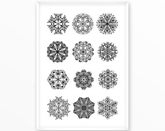 Snowflakes print, xmas printable, scandinavian art print, Typography, Poster, Vintage, Inspirational Home Decor, Screenprint, wall art